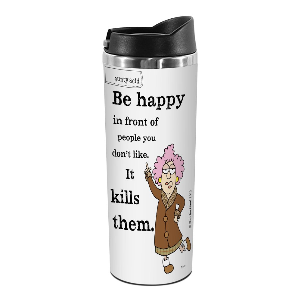 14-Ounce Be Happy Tree-Free Greetings TT01877 Aunty Acid 18-8 Double Wall Stainless Artful Tumbler
