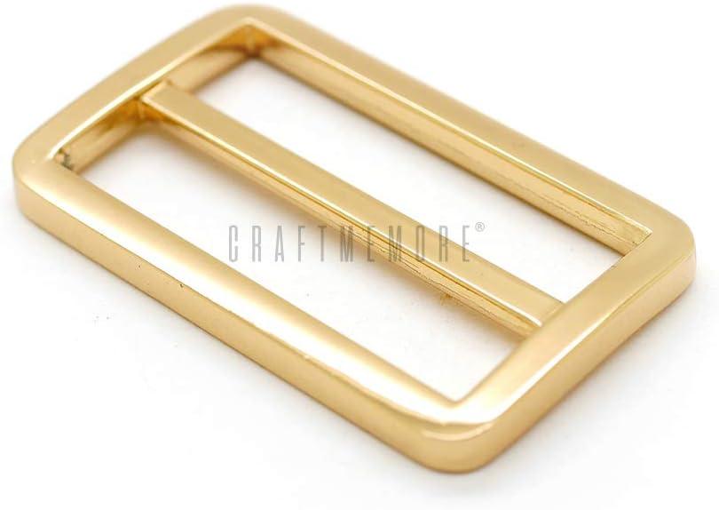 CRAFTMEmore Flat Metal Slide Buckle Triglide Strap Keeper Leathercraft Bag Belt Adjuster Sliders 6 Pack 3//4 Inch, Brushed Gold Bronze
