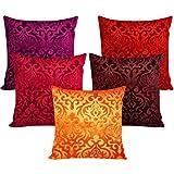 "Czar Home Multicolor Velvet Cushion Cover (16"" x 16"") - Set of 5"