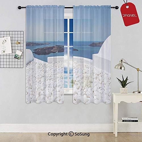 (Hotel with White Stones Santorini Island Greece Landscape with Sea Rod Pocket Sheer Voile Window Curtain Panels for Kids Room,Kitchen,Living Room & Bedroom,2 Panels,Each 42x54 Inch,Turquoise and Whit)