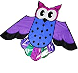 Kite Huge Giant Bird Kite for Kids and Adults, 58x31 Inch Best Portable Owl Kite for Boy and Girl, Easy Flyer and Assemble for Beginner, Single Line Beach Toy Game (Purple)