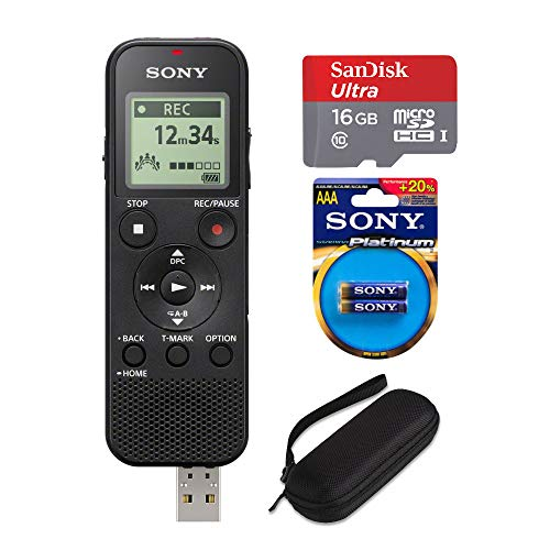 Sony ICD-PX370 Mono Digital Voice Recorder with Built-in USB with 16GB MicroSD, EVA Hard Carrying case, and 2 Extra Sony AAA Stamina Batteries