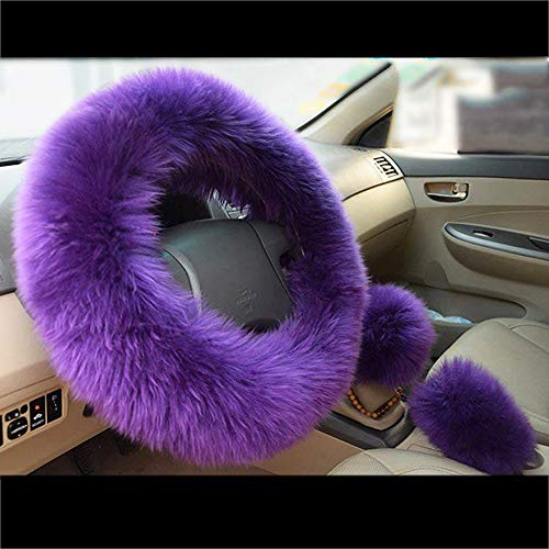 (BAUZEIT 3Pcs/Set Universal Plush Car Steering Wheel Covers for Women & Girl 15 inch/37-38cm Protector - Soft Faux Wool Leather Anti Slip Winter Cover Protection for Auto SUV Truck Lorry Van,Purple)
