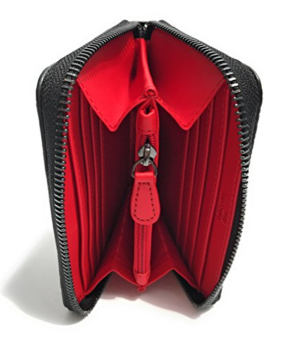 PORTAFOGLIO DONNA LOVE MOSCHINO LOGO EMBOSSED ZIP AROUND SMALL LAMINATO NERO A18MO35