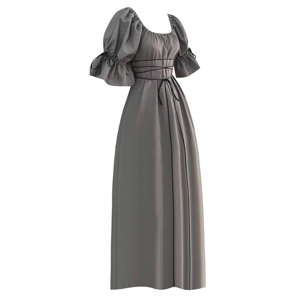 b8066c5acbd Amazon.com  Women Dress Vintage Short Petal Sleeve Tie Side O-Neck Medieval  Cosplay Long Dress  Clothing