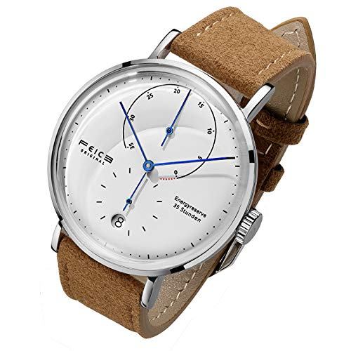 FEICE Automatic Watch for Men Bauhaus Watch Mens Mechanical Watch Stainless Steel Domed Mirror Analog Casual Dress Watches Unisex -FM202 (Brown)