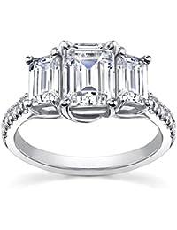2.10 ct Ladies Emerald Cut Diamond Engagement Ring in Platinum