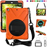 New iPad 9.7 2017 2018 Case,360 Degree Rotatable with Kickstand,Hand strap and Shoulder strap case, 3 Layer Hybrid Heavy Duty Shockproof case for iPad 9.7 5th/6th Generation (Orange)