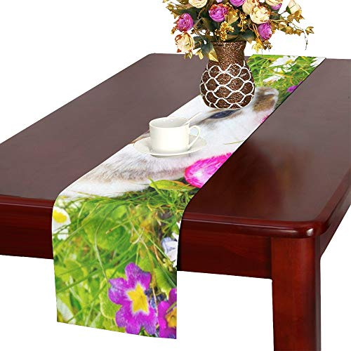 WUTMVING Easter Bunny Hiding Eggs Table Runner, Kitchen Dining Table Runner 16 X 72 Inch for Dinner Parties, Events, Decor