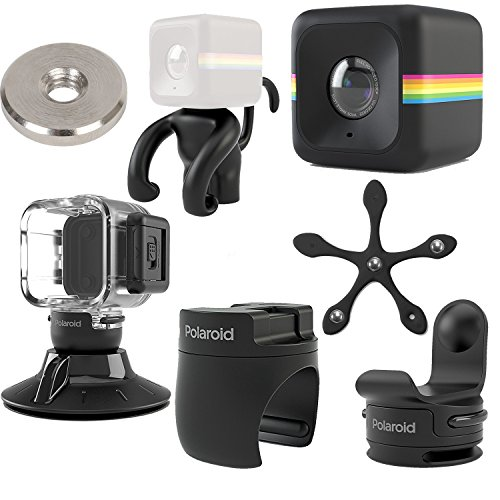 Polaroid Cube ACT II HD 1080p Lifestyle Action Video Camera (Black) Gift Bundle + Waterproof Case + Suction Mount + Flexi Pod Mount + Magnet Adapter + Monkey Stand + Bike Mount + Strap Mount (Polaroid Cube Micro Sd Card)