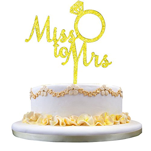 - GrantParty Gold Miss to Mrs Cake Topper - Wedding Anniversary Party Decoration Photo Props,Bridal Shower, Engagement Party, Bachelorette, Stagette, Ring