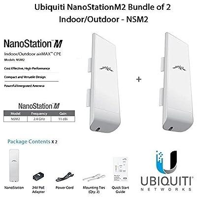 Ubiquiti NanoStationM2 Bundle of 2 NanoStationM Indoor/Outdoor airMAX CPE Router - NSM2