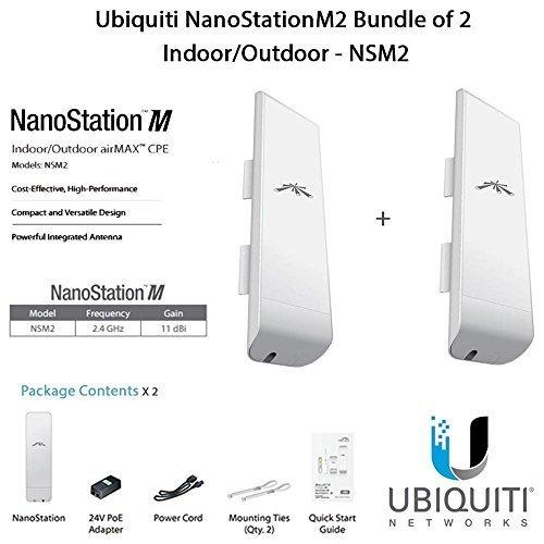 Ubiquiti NanoStationM2 Bundle of 2 NanoStationM Indoor/Outdoor airMAX CPE Router - NSM2 by Ubiquiti Networks