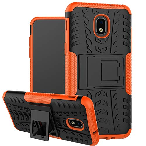 Samsung Galaxy J3 2018 Case,Galaxy J3 V 3rd Gen Case, Express Prime 3 Case,J3 Achieve Case,J3 Star Case, Boythink Double-Layer Hybrid Shock Resistant Armor With Kickstand Protective Case (Orange)