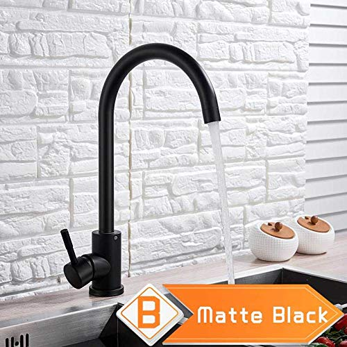 Brushed Nickel Rotate Neck Kitchen Sink Faucet Single Lever Swive Spout Bathroom Kitchen Mixer Tap One Hole Stainless Steel Tap Matte Black B
