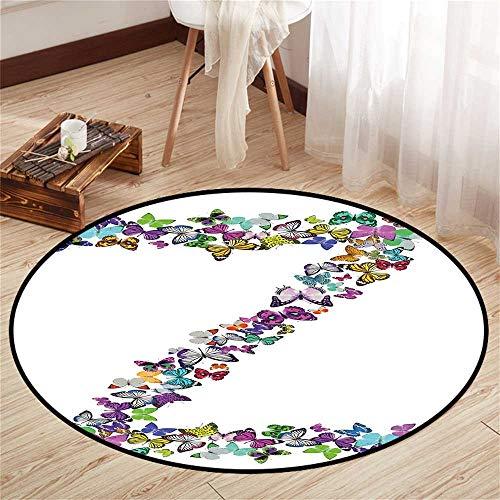 (Round Floor mat Desk Chair Round Indoor Floor mat Entrance Circle Floor mat for Office Chair Wood Floor Circle Floor mat Office Round mat for Living Room Pattern 2'9