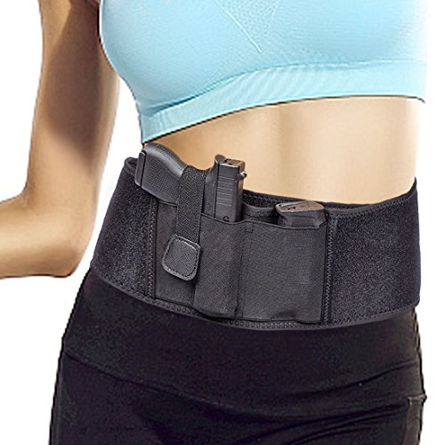 Concealed Carry Holster Waist Belly Band Gun Holster Elastic Handgun Holder Pistols Revolvers for Men and Women Fits Ruger LCP Smith Wesson Bodyguard, Shield, Glock 19, 42, 43, P238, and Similar Sized by LEOSO