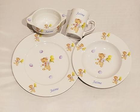 Vajilla Infantil Porcelana Personalizada con Nombre, 4 Piezas,Decorado Osos con Globos Porcelana de