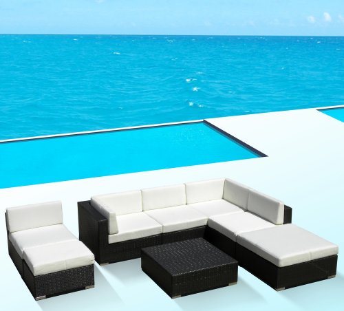 Outdoor Patio PE Resin Wicker Furniture All Weather 8pc Vila Deep Seating New Sectional Sofa Set