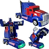 Toys : Battery Operated Bump and Go Transformers Toys for Kids – Auto Transforming Autobots Action Figure and Sports Truck - Realistic Engine Sounds and Beautiful Flash Lights;