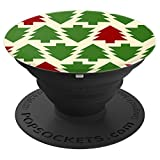 Green and red Christmas tree pattern - PopSockets Grip and Stand for Phones and Tablets