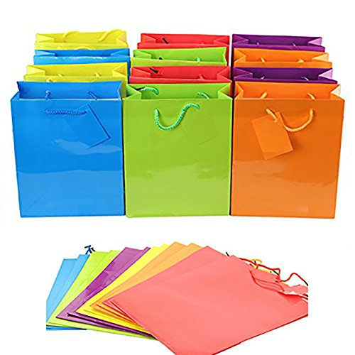 Adorox 24 Assorted Gift Bags Medium Bright Neon Colored Party Present Paper Gift Bags Birthday Wedding All Occasion (24 Pcs. (13x10x4.5))