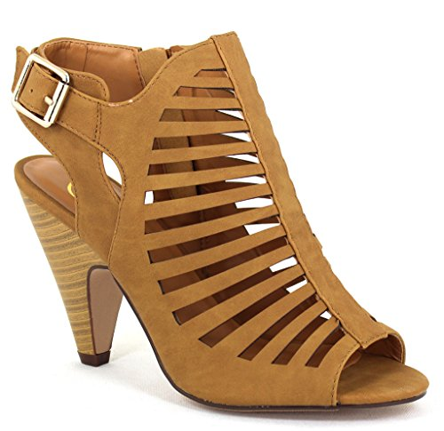 My Delicious Shoes Women's Shaky Tan Nubuck Synthetic Dress 7.5 B(M) - Stripper Sexy Shoes
