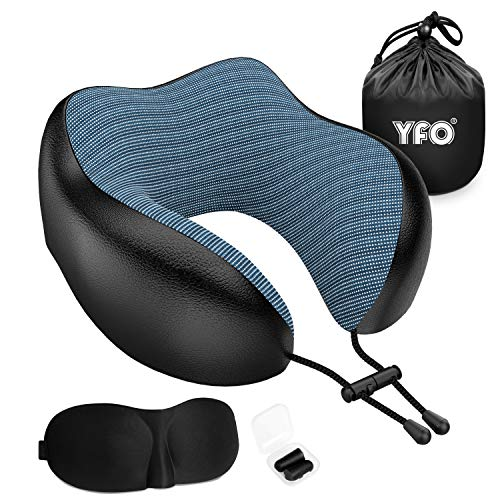 YFO Updated 100% Pure Memory Foam Travel Pillow, Luxury Leather Neck Pillow with 3D Eye Mask, Earplugs, and Portable Bag…