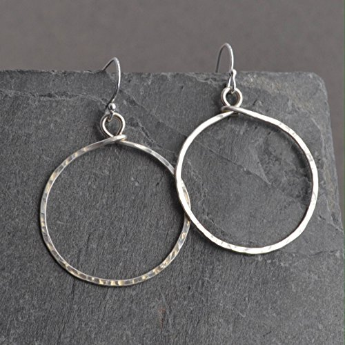 [Handmade Hammered Sterling Hoop Earrings] (Handmade Hammered Ring)