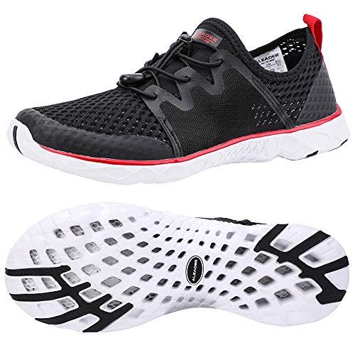 ALEADER Mens Beach Shoes for Aqua Sports, Water Aerobics, Boating, Fishing, Paddle Sports Black/Red 11 D(M) US