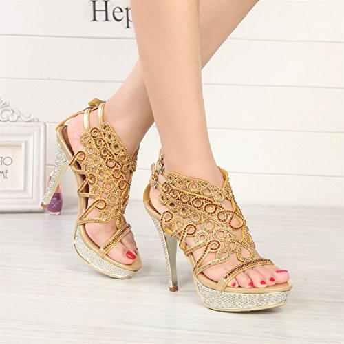Open Sandali il Stivali Primavera Crystal Toe Glitter per Scintillante Tacchi Moda Donna in Dimensione Partito Gold da Color Fibbia 38 Pelle Catena da Strass Estate Vestito UxzrqU0