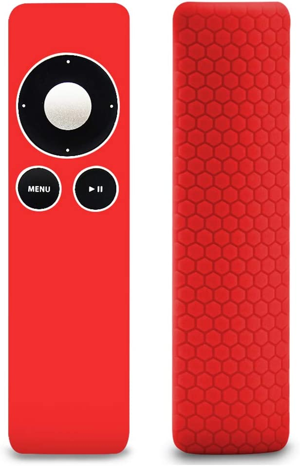Protective Case Covers Skin Sleeve for Apple TV 2 3 Remote Controller,Remote Case Cover Skin Protector Accessories for Siri Remote Control, Lightweight(Anti Lost)Shock Proof Silicone Sleeve Cover-Red