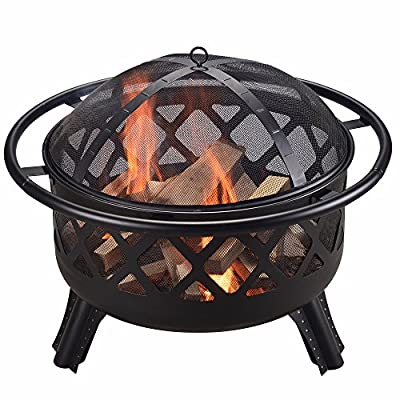 "Peaktop CU296 Steel Wood Burning Fire Pit, 30"", Black - Featured with CSA certified burner. Built for charcoal and wood burning. The decorative fire pit integrate into your patio décor while the design structure ensures long term durability. Carefully made to provide you and all of your guests with warmth for those Unforgettable summer nights. Includes a poker and spark screen. A grilling grate is not included. - patio, outdoor-decor, fire-pits-outdoor-fireplaces - 51gJjwJf IL. SS400  -"