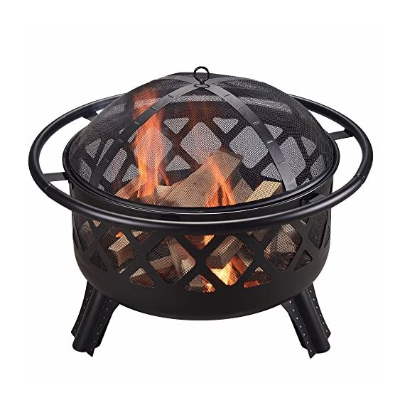 """Peaktop CU296 Round Steel Charcoal Wood Burning Fire Pit Bonfire with Spark Screen and Fireplace Poker for Outdoor Patio Garden Backyard Decking, 30.0"""", Black - Featured with CSA certified burner. Built for charcoal and wood burning. The decorative fire pit integrate into your patio décor while the design structure ensures long term durability. Carefully made to provide you and all of your guests with warmth for those Unforgettable summer nights. Includes a poker and spark screen. A grilling grate is not included. - patio, outdoor-decor, fire-pits-outdoor-fireplaces - 51gJjwJf IL. SS570  -"""