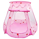 Kids Play Tent, BELLESTYLE Pop Up Princess Children Ball Pit Pool Tent House for Kids Indoor and Outdoor Use (Pink)