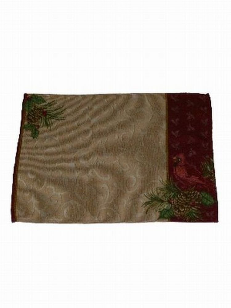 Holiday Time Gold & Red Tapestry Cardinal Placemat Set 2 Fabric Placemats 13x18