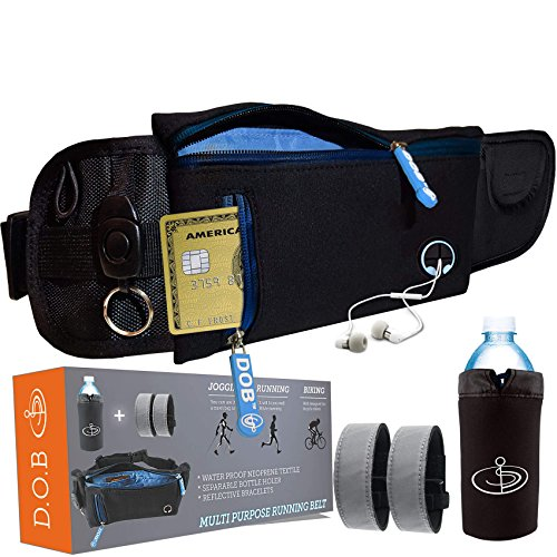 DOB Sport Belt Package , 1 Adjustable Belt + 2X Reflective Bracelets + 1 Detachable Bottle Pouch Perfect for Travelling Outdoor activities Running camping Biking Cycling Fits all iphone and Samsung