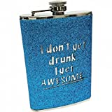 Maxam KTFLKBAW 8 oz Stainless Steel Flask with Blue Sparkled Wrap