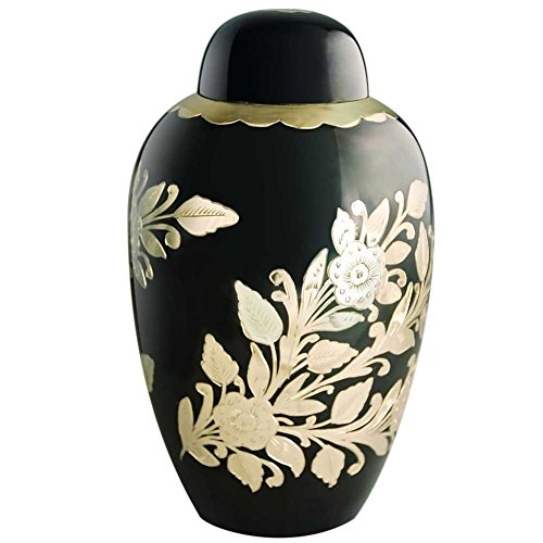- MEILINXU Funeral Urns for Ashes Adult by Cremation Urns for Human Ashes Adult Large - Design is Hand Engraved in Brass - Display Burial Urns At Home or in Niche at Columbarium (Golden Garden, Large