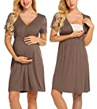 MAXMODA Womens Long Nightgown Maternity Sleepwear Wrap Night Dress Solid Sleep Shirt Blouse (Coffee/M)