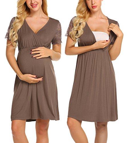 MAXMODA Womens Long Nightgown Maternity Sleepwear Wrap Night Dress Solid Sleep Shirt Blouse (Coffee/M) by MAXMODA