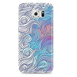 Samsung Galaxy S6 Edge Case Blue White Swirl Pattern-Hard Plastic Tough Wrap Around Phone Cover