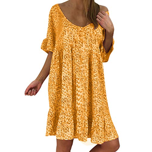 f73033f3198 OrchidAmor Women s Ladies Sexy Loose Print Hlaf Sleeve Ruffles Mini Dress  Summer Dress Orange