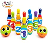 Fun Kids Bowling Play Set by ZenTeck [12-Piece]| Child Safe Lightweight Pins & Balls Sport Game for Boys, Girls, Toddlers, Children| Indoor Developmental Physical Activity No-Noise Family Game