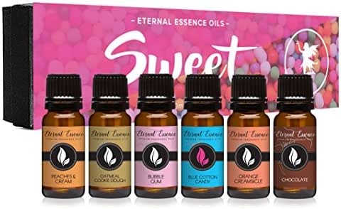 Sweet Gift Set of 6 Premium Grade Fragrance Oils - Bubble Gum, Orange Creamsicle, Peaches & Cream, Blue Cotton Candy, Oatmeal Cookie Dough, Chocolate - 10Ml - Scented Oils