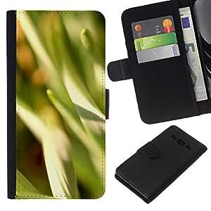EJOY---La carpeta del tirón la caja de cuero de alta calidad de la PU Caso protector / Samsung Galaxy A3 / --Naturaleza Hermosa Forrest Verde 15
