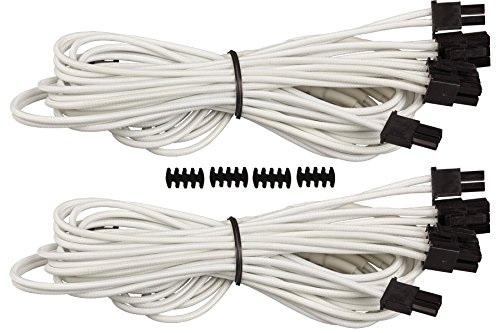 Corsair CP-8920182 Premium Individually Sleeved PCIe Cables with Dual Connectors, White