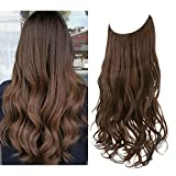 SARLA Halo Hair Extensions Medium Brown Long Wavy Curly Synthetic Hair Piece for Women Adjustable Size Transparent Wire Headband Heat Friendly Fiber 22 Inch 5.3 Oz No Clip