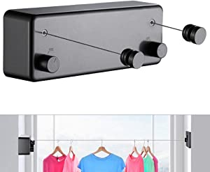 JOOM Retractable Clothesline Indoor Clothes Lines retracting   Heavy Duty for Drying Laundry line Outdoor Wall Mounted Stainless Steel 13.8Feet Two line (Drill) (Black T)