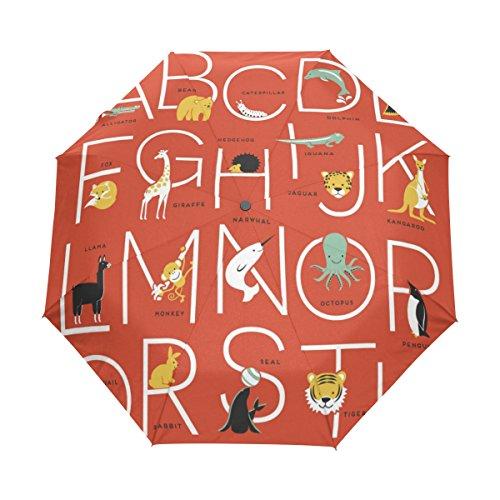U LIFE Cute Alphabet Animals Letter Auto Open Close Umbrellas Anti UV Folding Compact Automatic - Umbrella Alphabet